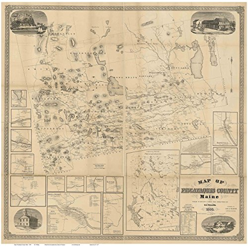 (Piscataquis County Maine 1858 - Wall Map with Homeowner Names - Old Map)