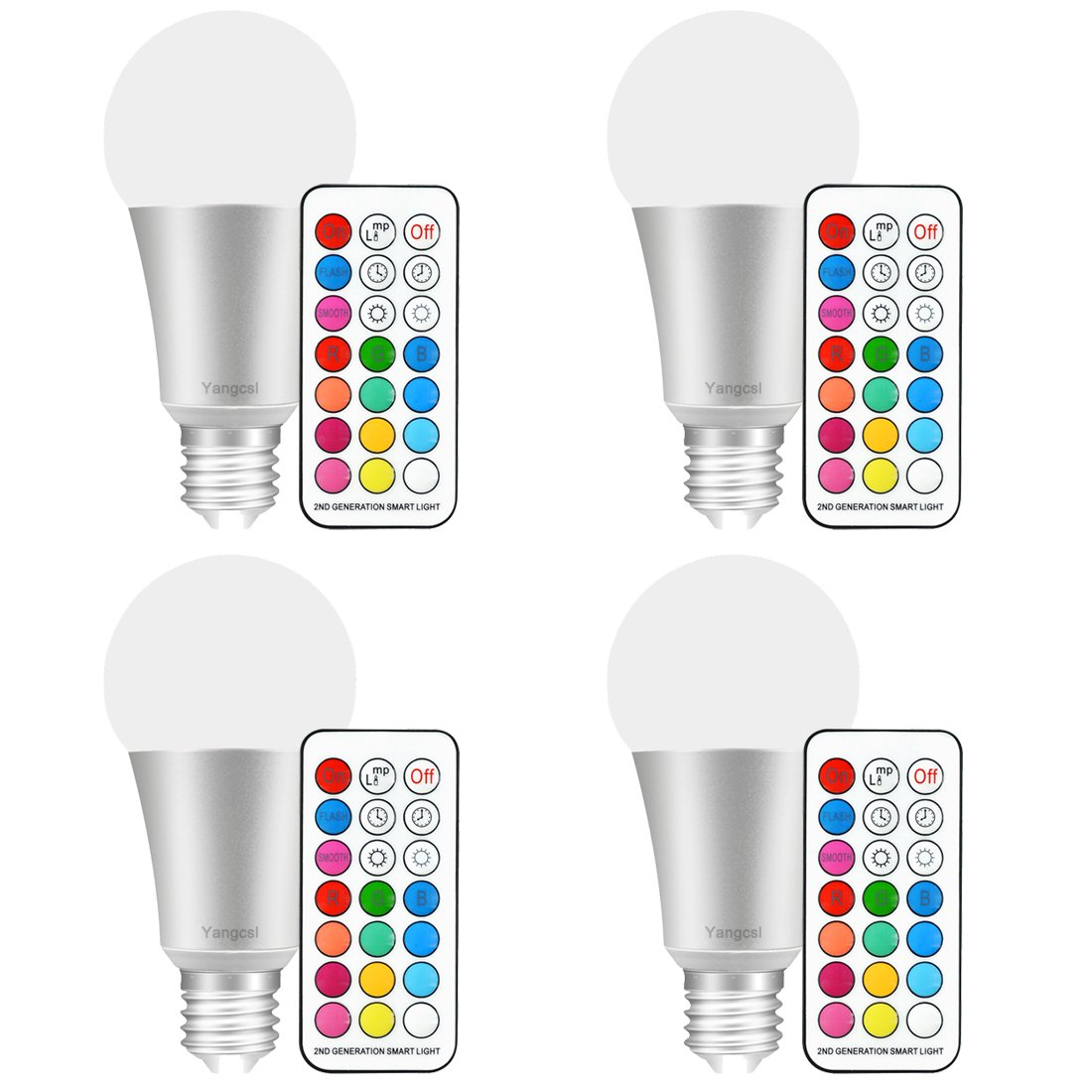 Yangcsl 10W A19 Timing Remote Controller Color Changing LED Light Bulbs, Double Memory and Wall Switch Control, RGB + Daylihgt, 60W Incandescent Bulb Equivalent (Pack of 4)