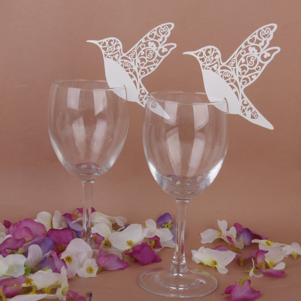 Amazon.com: 50 White Humming Birds Wedding Table Name Place Cards ...