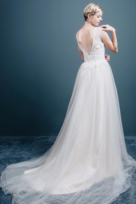 Saint Toi Line/Princess V-Neck Sweep Train Tulle Wedding Dress LSWS ...