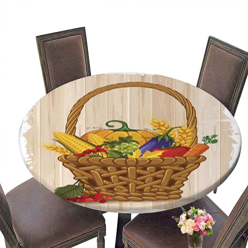 Waterproof SpillProof Round Tablecloth,Happy Thanksgiving for Picnic Outdoor or Indoor Party use up to 31.5''-33.5'' Diameter
