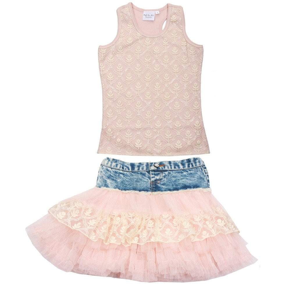 Ooh! La La! Couture Big Girls Pink Top Denim Detail 2 Pc Skirt Outfit 12