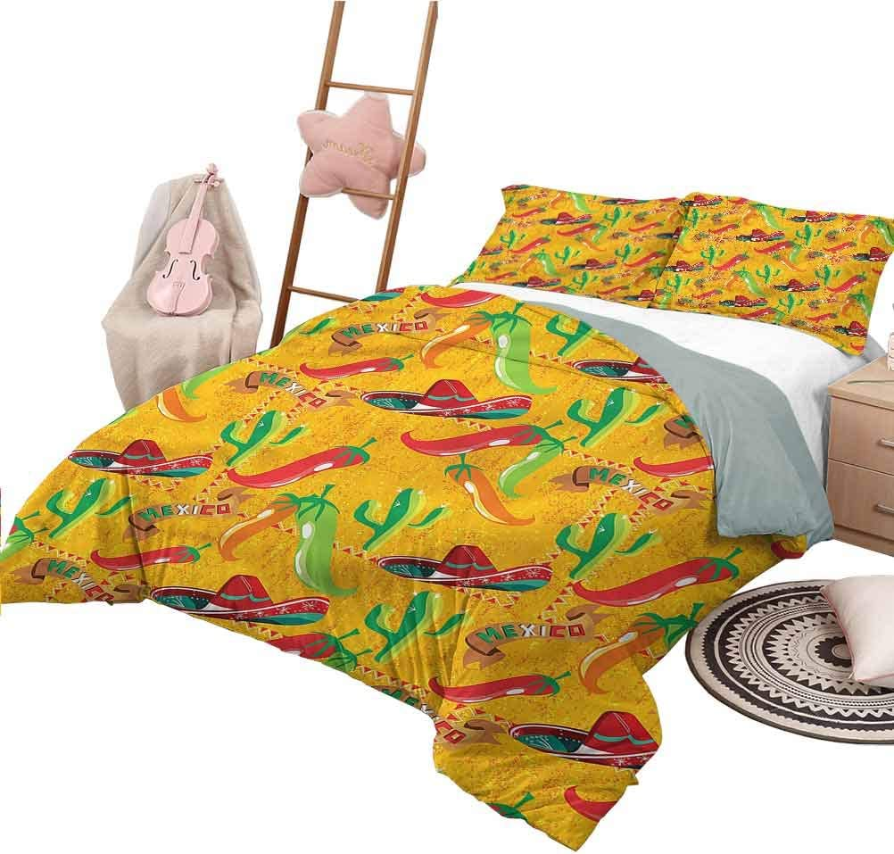 3 Piece Quilt Set Queen Size Mexican Soft Lightweight Coverlet for All Season Latino Elements Sombrero