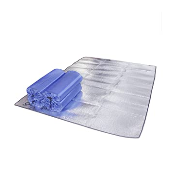 Rey papel de aluminio Mat tienda de campaña huella impermeable dormir almohadillas lluvia refugio manta de