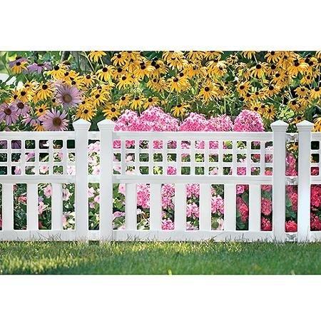 Suncast Grand View 3-Pack Resin White Garden Fence