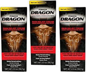 Pomada Dragon. Pain Relief Cream. Fast Acting. Analgesic for Muscles and Joints Associated with Simple Backache, Arthritis, Strains, Bruises, and Sprains. 2 Oz. Pack of 3