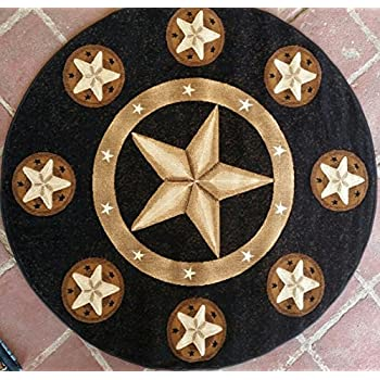 Great Texas Star Area Rug Round Black Skinz Design 78 (5ft.x5ft. Round)