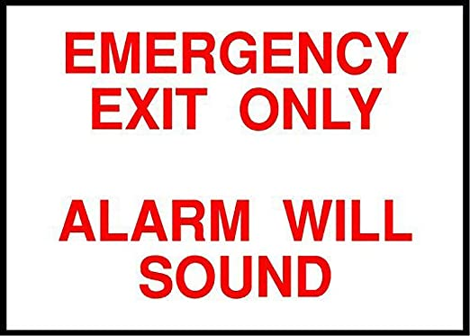 Tarfy Emergency Exit Only, Alarm Will Sound Emergency Exit ...
