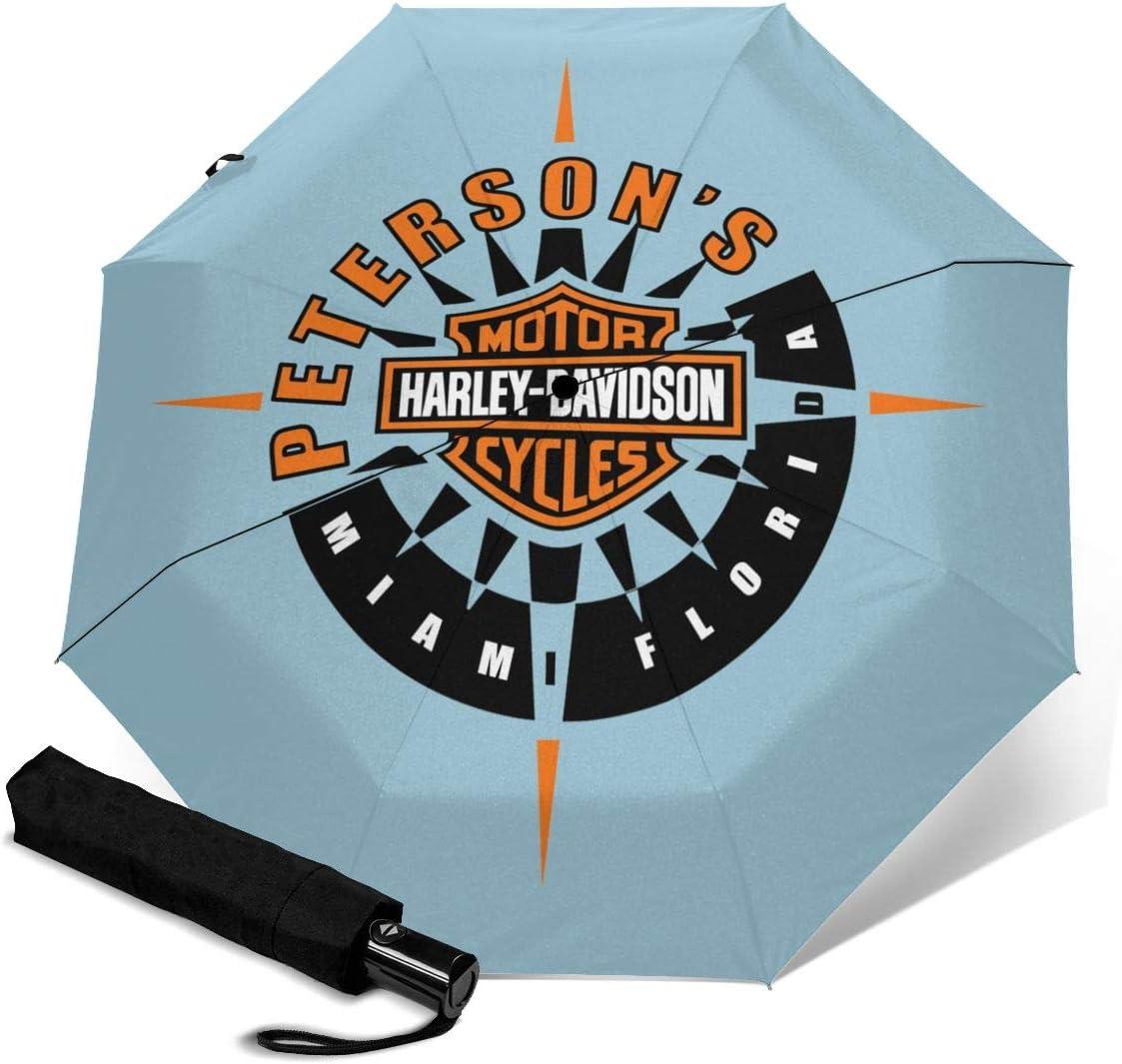 Lovesofun Portable Automatic Umbrella Harley David-Son Compact Auto Open Close Folding Business Umbrellas UV Protection Automatic Tri-fold Umbrella for Men and Women