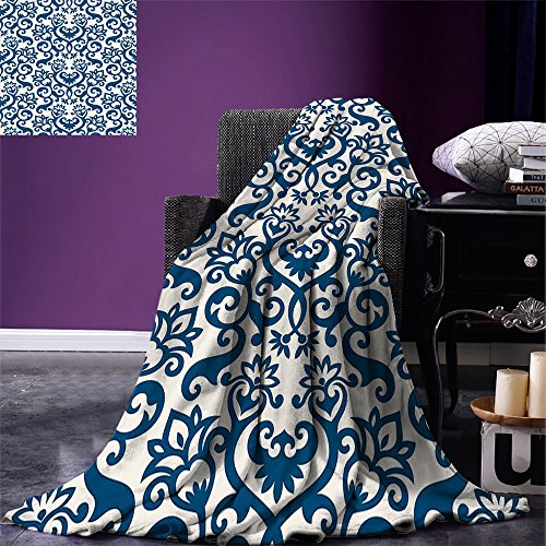 smallbeefly Abstract Digital Printing Blanket Ornamental Floral Pattern Antique Damask Flowers Curvy Repeating Tile Artsy Design Summer Quilt Comforter Blue White by smallbeefly
