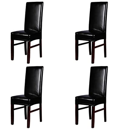 Sensational Dining Chair Covers My Decor Solid Pu Leather Waterproof Stretch Dining Chair Protctor Cover Slipcover Black 4 Pack Pdpeps Interior Chair Design Pdpepsorg