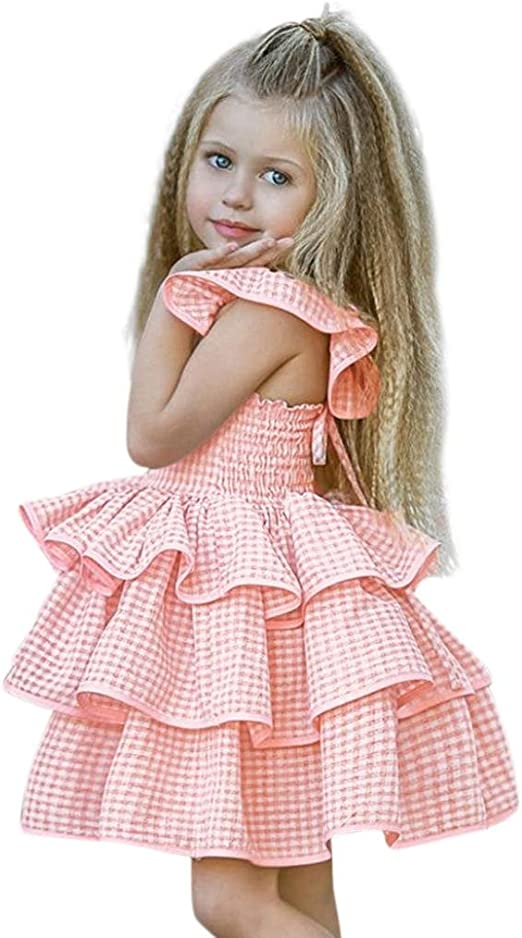 Solid Toddler Kid Baby Girl Clothes Sleeveless Long Tutu Dress Sundress Sunsuit
