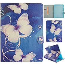 T530 Case,Gift_Source [Blue Butterfly] [Stand Feature] Colorful Cute Wallet PU Leather Flip Cover Soft TPU Case Built-in Card Slots for Samsung Galaxy Tab 4 10.1 SM-T530NU