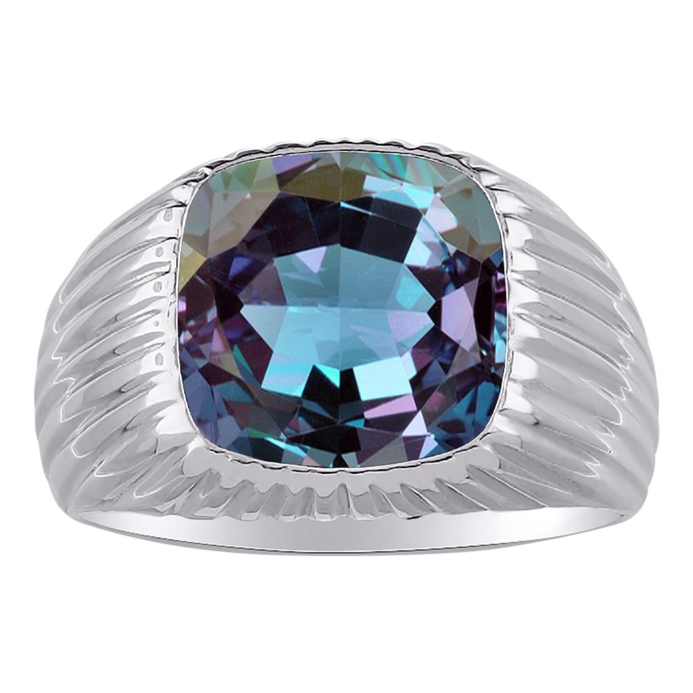 Alexandrite Ring Sterling Silver or Yellow Gold Plated Band