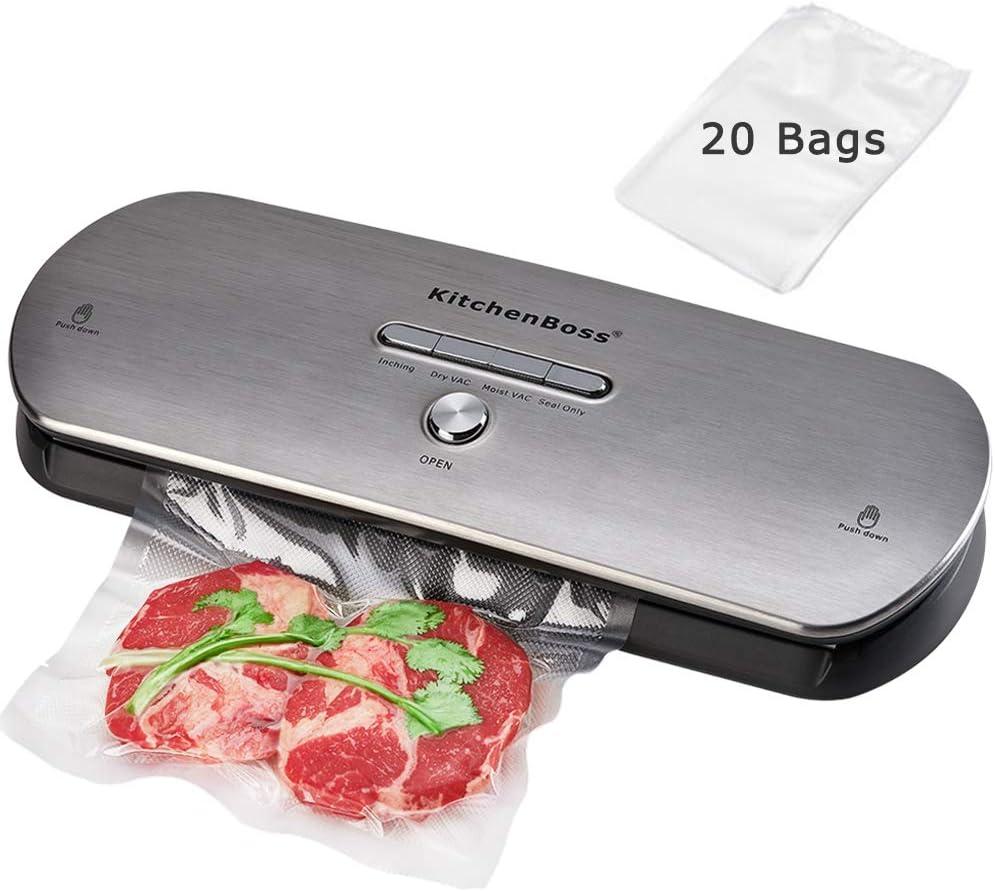 KitchenBoss Envasadora Máquina Selladora de Vacío para Alimentos Secos y Húmedos Preservación Sistema de Sellado Automático por Vacío,Luces Indicadoras LED Inteligentes, Función de Vacío Manual