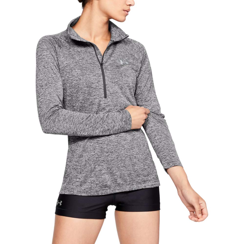 UNDER ARMOUR womens Tech Twist ½ Zip Long Sleeve Pullover, Charcoal (019)/Metallic Silver, Large by Under Armour