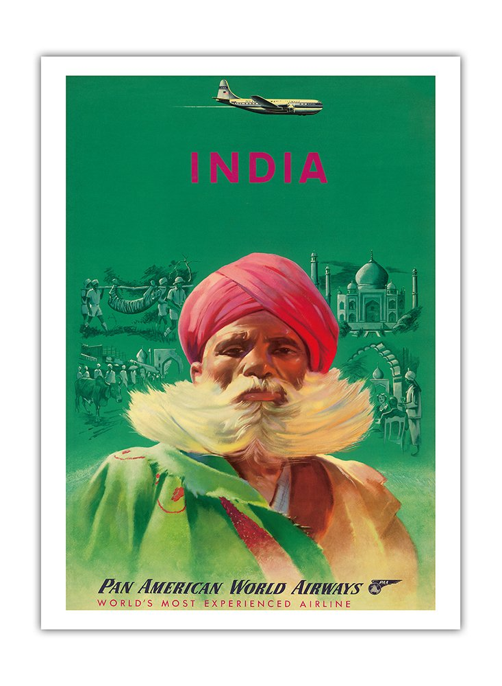 India - Sikh in Red Turban - Pan American World Airways (PAA) PAN AM - Vintage Airline Travel Poster c.1950s - Fine Art Print - 44in x 60in