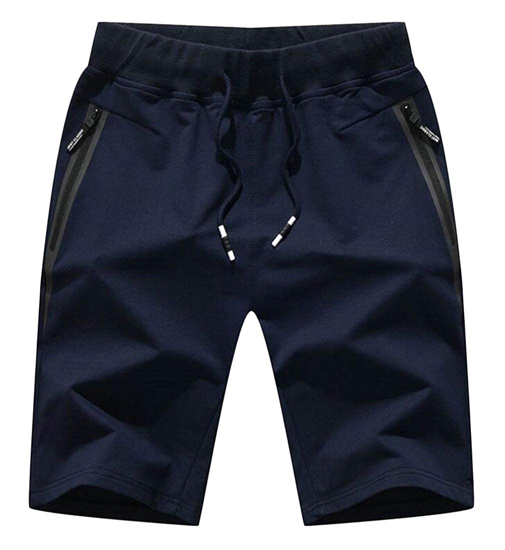 GAGA Mens Light Weight Workout Running Athletic Shorts with Zipper Pockets