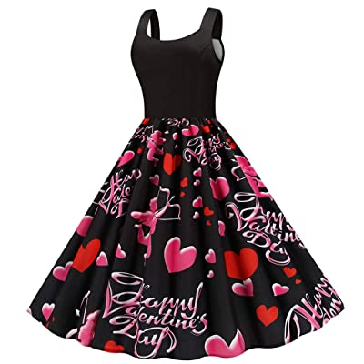 Sttech1 Womens Spaghetti Strap Boat Collar Sleeveless Long Dress Valentine's Day Printed Swing Maix Party Dresses: Clothing