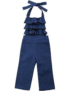 24f6f67759 Baby Girls Little Kids Suspender Overall Flared Denim Jeans Jumpsuit Bell  Elastic Blue Pants