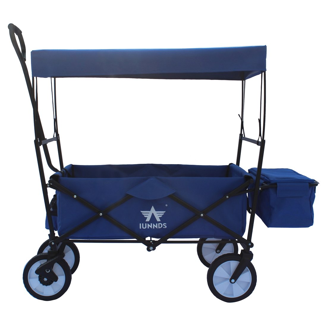 Sports God Folding Wagon Collapsible Utility Garden Cart with Removable Canopy + Storage Basket + FREE Cooler (Blue)