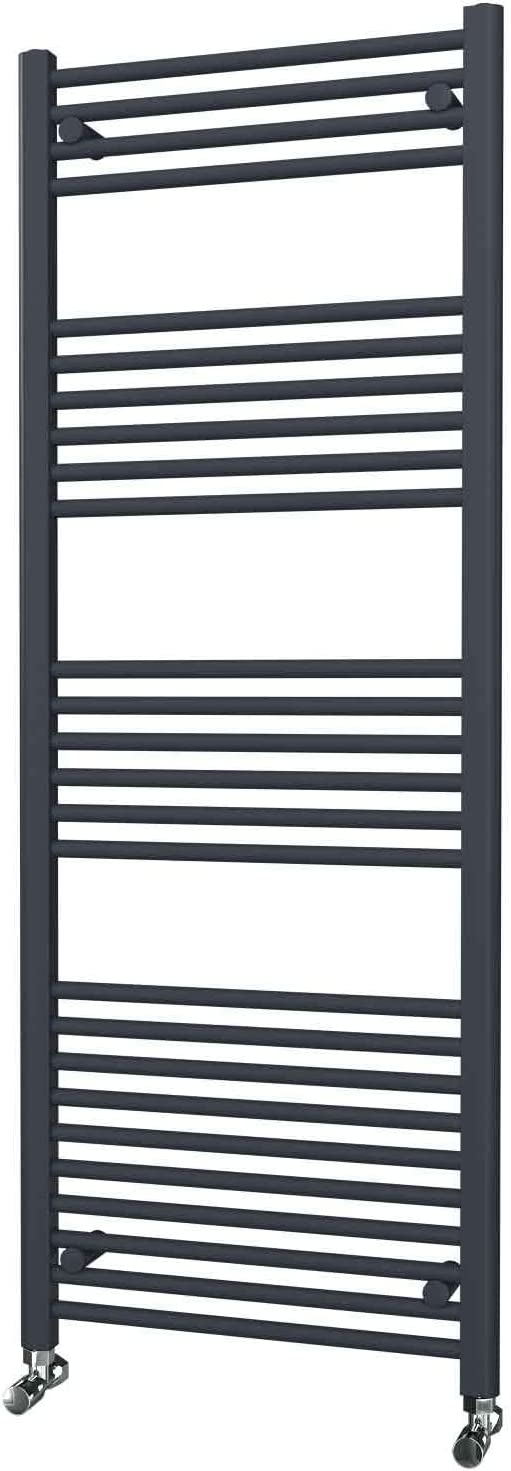 5 Year Guarantee Matte Anthracite Straight Ladder Heated Towel Rails 1600mm x 600mm Central Heating