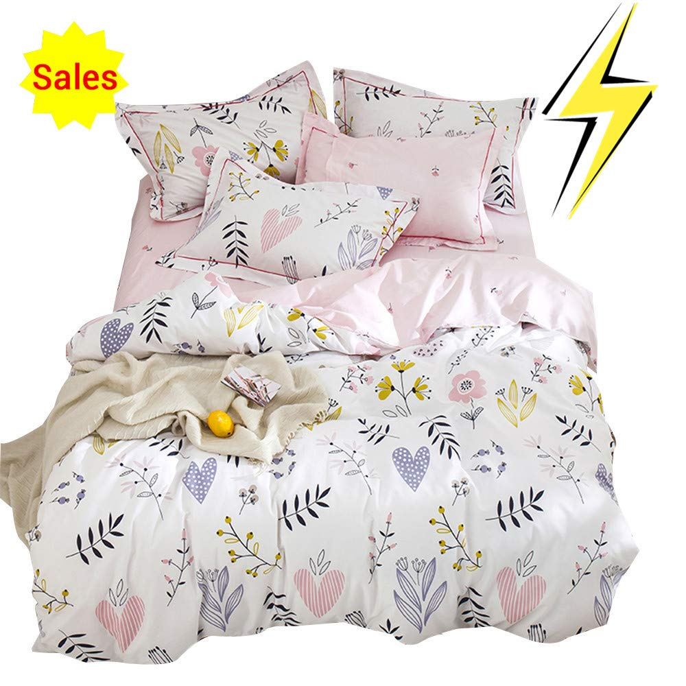 OTOB Soft Cotton Cartoon Pink Floral Duvet Cover Full Queen for Girls Kids Toddler Women Reversible Plant Flower Print Teen Bedding Sets Full Size, No Comforter