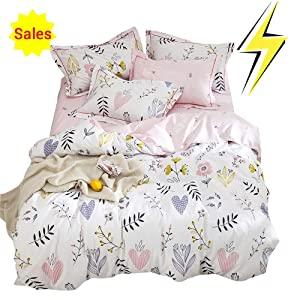OTOB Soft Cartoon Plant Flower Print Girls Twin Bedding Duvet Cover Sets Cotton 100 Percent for Kids Toddler Teen Women Colorful Floral Reversible Teen Bedding Sets Twin Pink