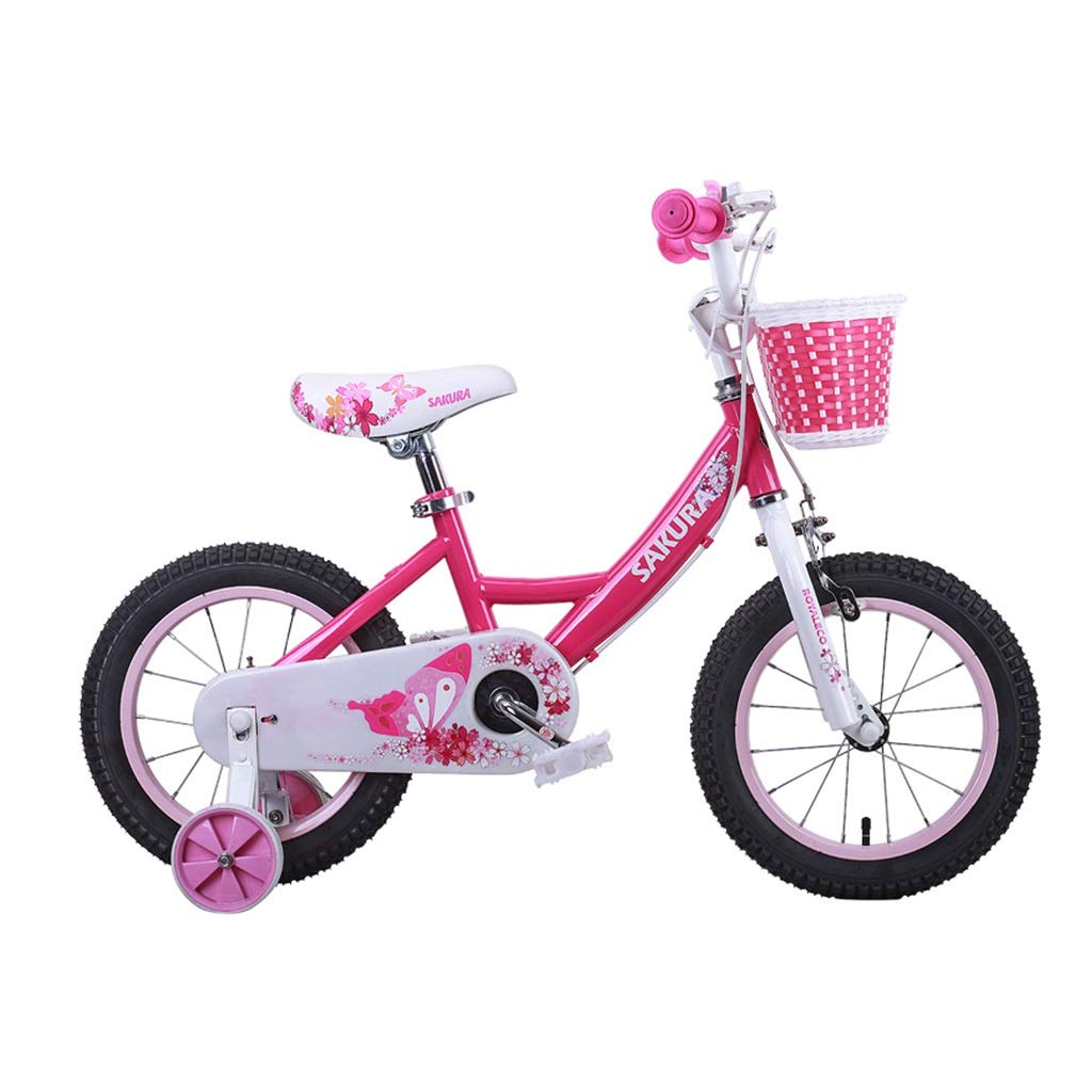 Bici rosa Bici da Ragazza 2-4-6-8 Anni Bicicletta da 12, 14, 16 Pollici per Bambini I Migliori Regali per I Bambini Tricicli per Bambini Biciclette Sportive (Colore   rosa, Dimensione   14inches)