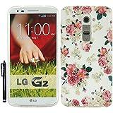 Hunye TPU Gummi Schutzhülle Tasche für LG G2 Hülle Case Gel Schale Rosen Muster Cover Etui mit Stylus