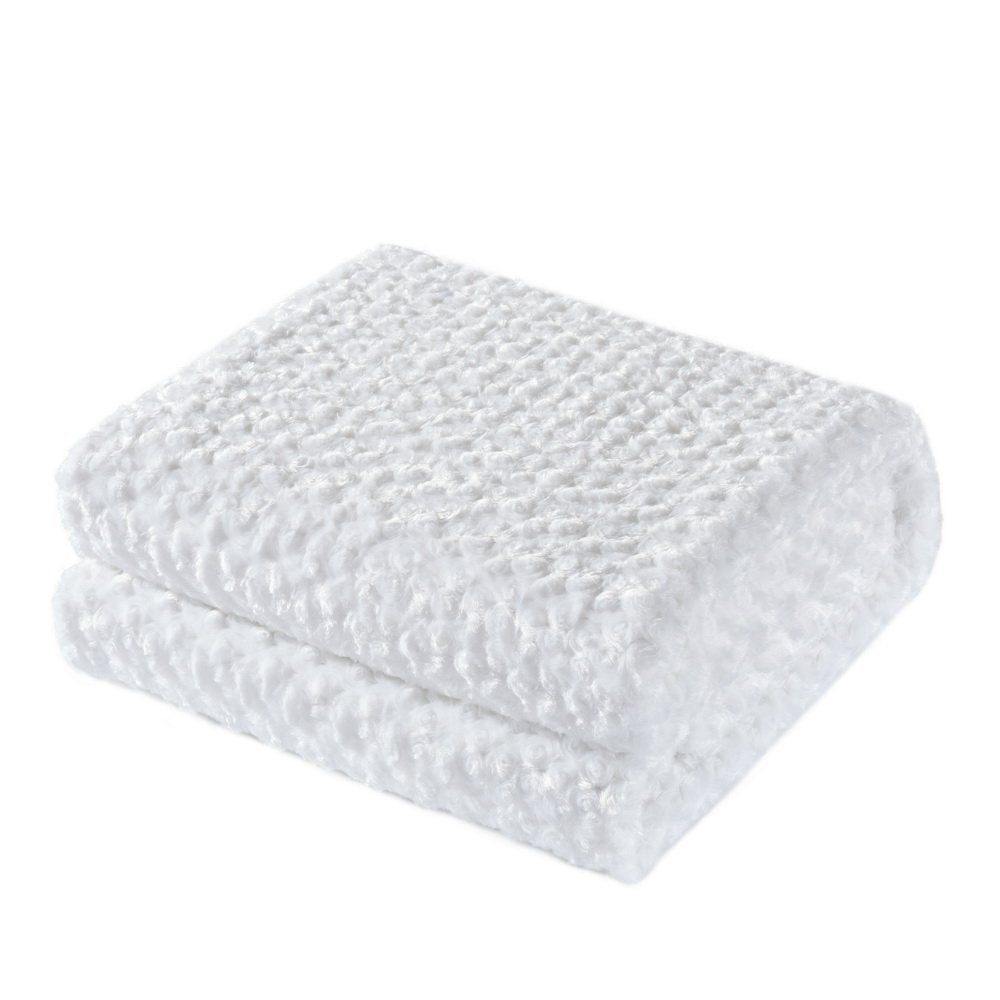 King Linens Super Soft Microfiber Blanket Stereo Rose Pattern Fluffy Cozy Home Furnishing (Twin, White)