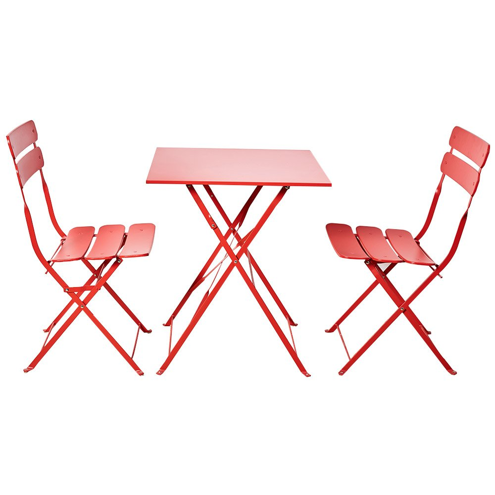 Grand patio Bistro Sets, Folding Outdoor Furniture Set for Bistro Patio Backyard, Red GP Bistro Sets 02 Red