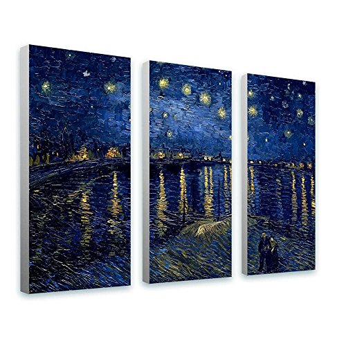 Rhone Framed Art (Alonline Art - Starry Night Over The Rhone Vincent Van Gogh FRAMED STRETCHED CANVAS (100% Cotton) Gallery Wrapped - READY TO HANG | 44