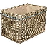 Large Delux Rectangular Hessian Lined Log Basket Antique Wash Finish Full Cane Willow Rope Handled