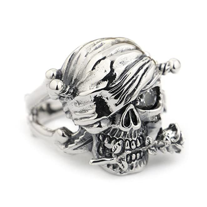 Deluxe Adult Costumes - Men's sterling silver rose white cz skull pirate ring