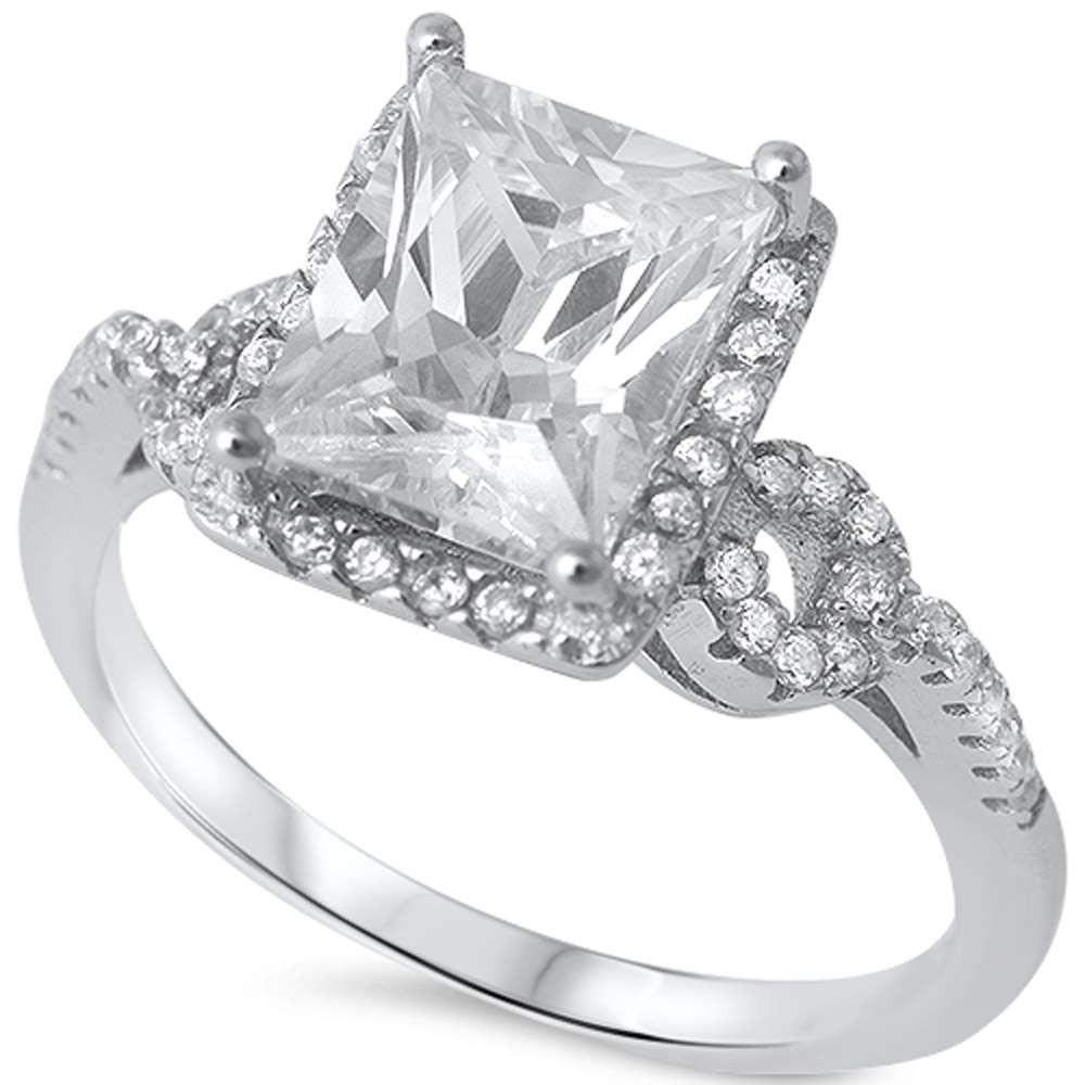 Princess Kylie Big Square Stone Clear Cubic Zirconia Bridal Ring Sterling Silver Size 9
