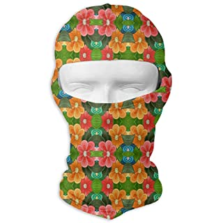 Balaclava Full Face Mask Tribal Floral Pattern Windproof UV Protection Neck Hood Ski Mask for Motorcycle Cycling Outdoor Sports