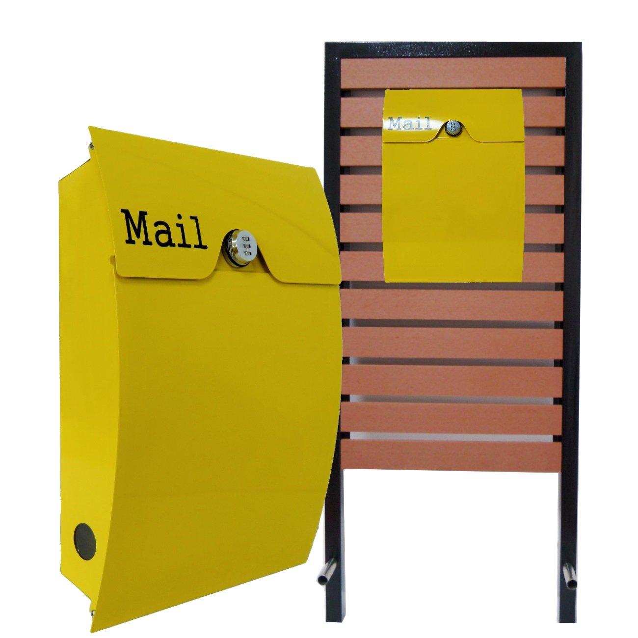スタンド付郵便ポスト郵便受け壁掛けダイヤル錠鍵付黄色 pm18s-pm163 B072Z6GGJ3 25880