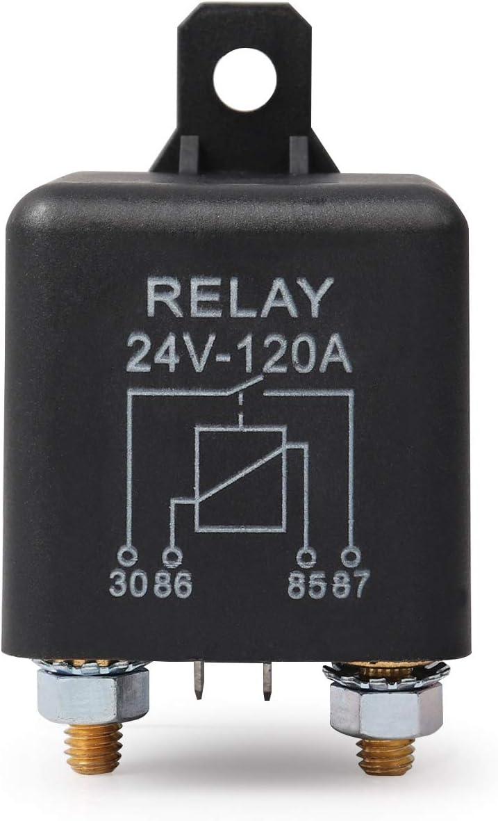 Ehdis 24V 120A 4 Pin Auto Relay Black Box Batterie f/ür Automobile Heavy Vehicle-LKW Bagger Van Boot 2 Pin-Abdruck 2 Klemme 1 Satz