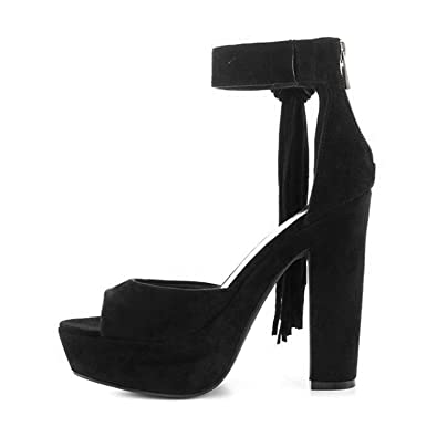 a3f2809b107 YDN Women Suede Chunky Heels Platform Pumps Open Toe Fringe Sandals with Ankle  Strap Black 4