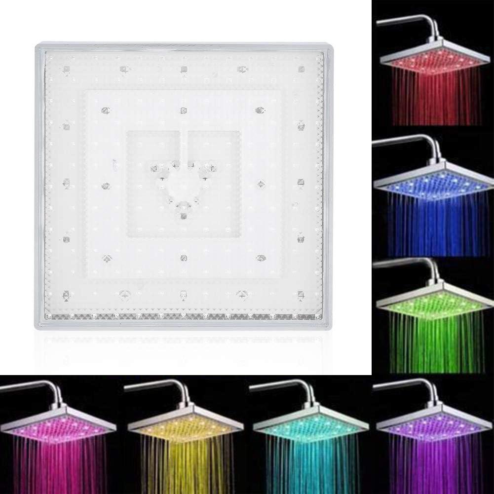 Zoternen 8Pulgadas Cuadradas Cromo Cara Lluvia LED Cabeza de Ducha 7 Colores Cambiantes Luz Rom/ántica Hogar