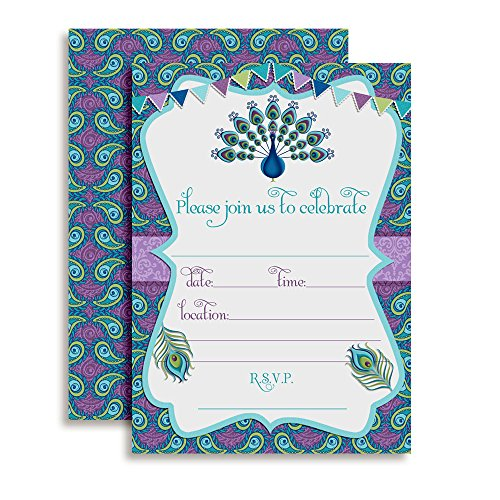 Amanda Creation Peacock Themed Birthday Party Fill in Style Invitations, Set of 20 Including envelopes