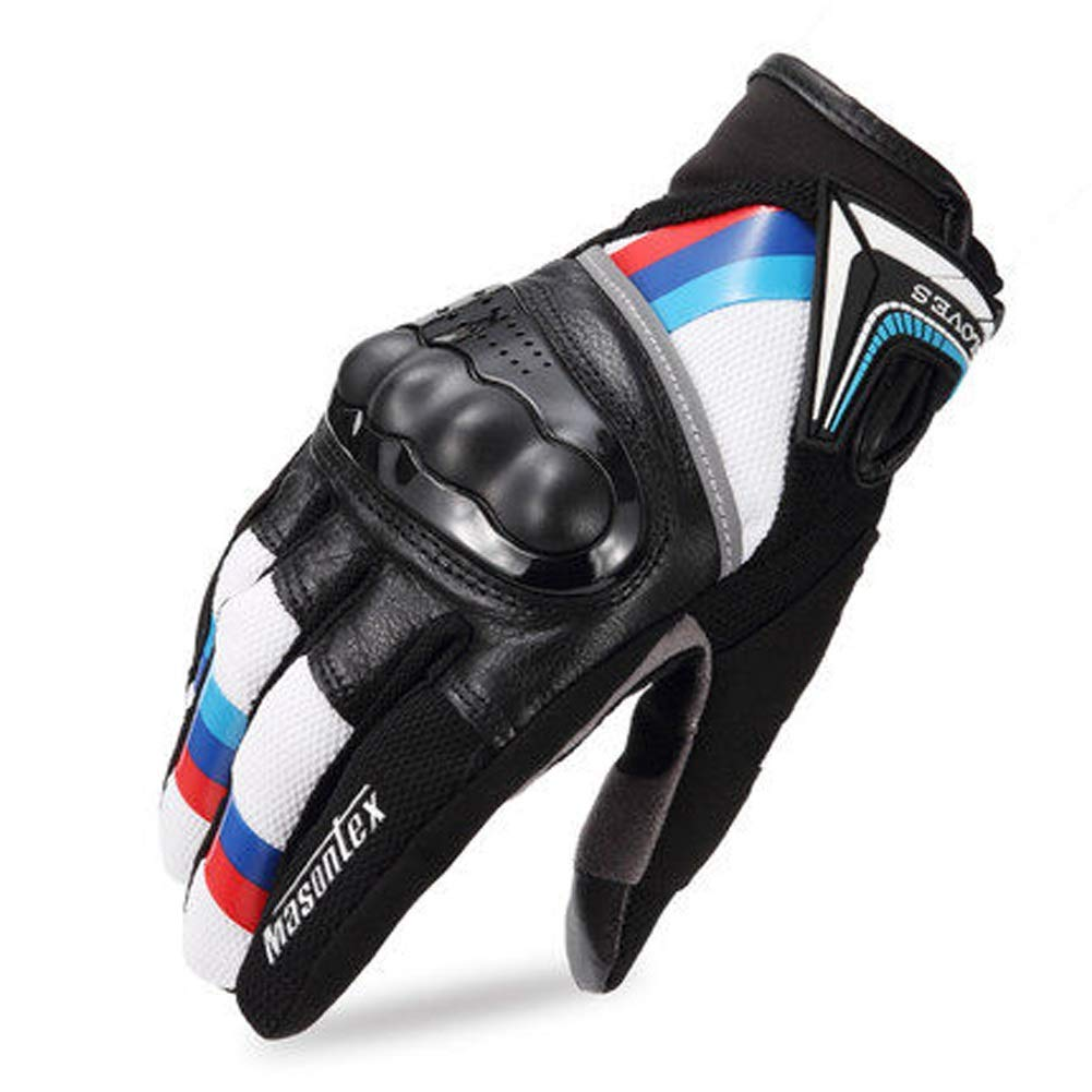 AINIYF Full Finger Motorcycle Gloves | Cycling Equipment Men's Leather Full Finger Racing Four Seasons Drop-proof Touch Screen Motorcycle Leather Bike Outdoor Gloves (Color : Blue red, Size : L)