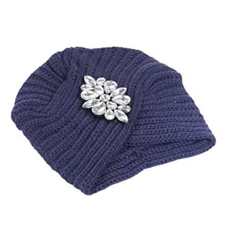 155ebde797a Cdet 1X Fashion Women Knitted Winter Warm Fashion Crystal Beads Beanie  Ladies Brim Ski Cap Bowler Hat Slouchy Cap Navy Blue  Amazon.co.uk  Kitchen    Home