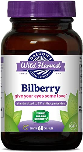 Oregon s Wild Harvest Non-GMO Bilberry Capsules Herbal Supplements, 60 Count