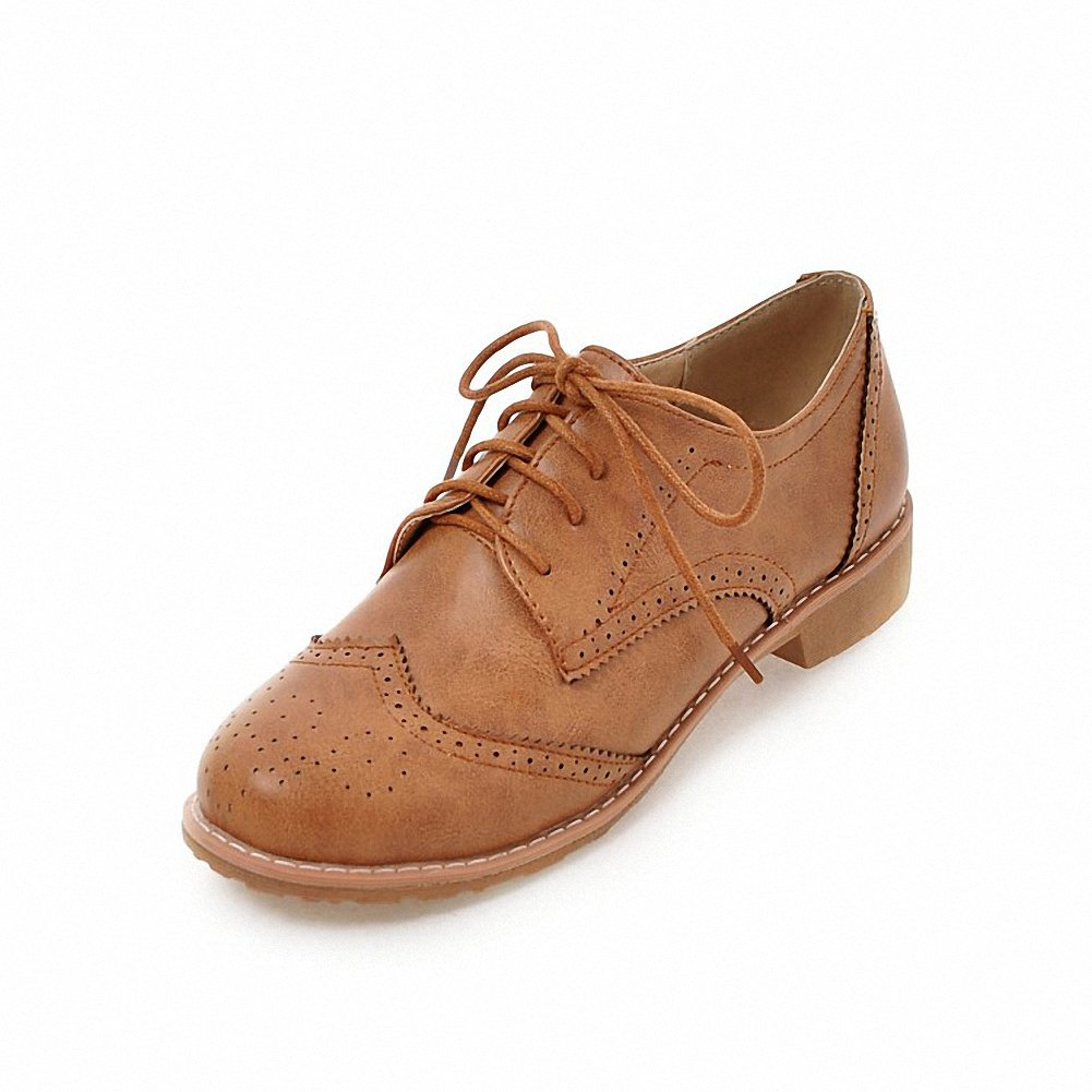 Cicime Women's Flat Lace-up Wingtip Oxfords Vintage Brown Oxford Shoes Brogues