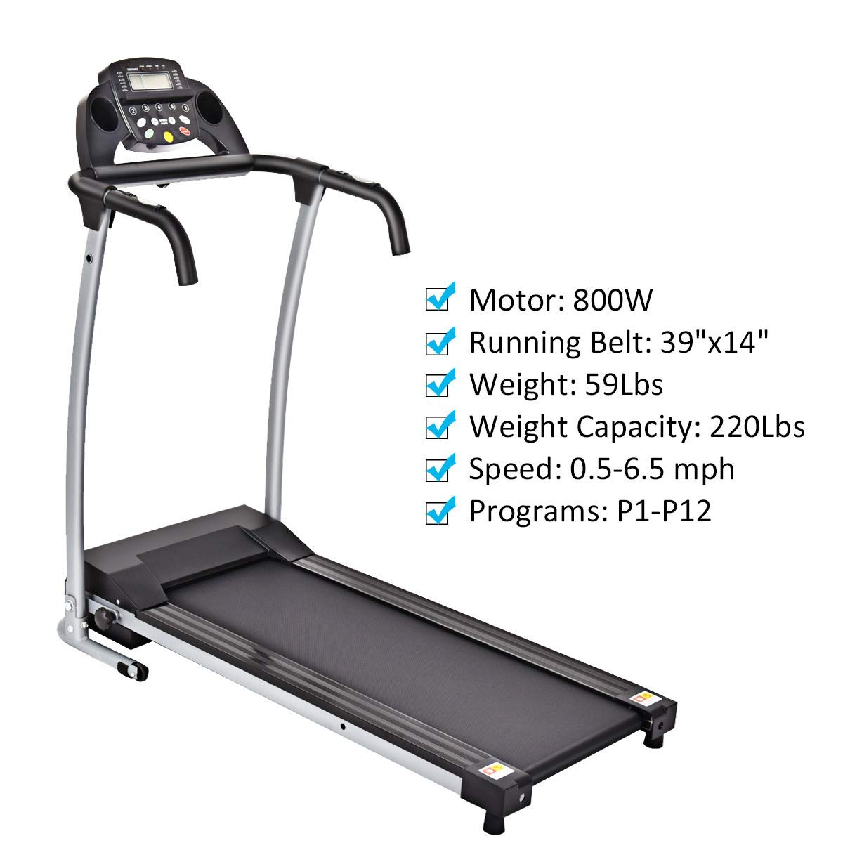GYMAX Folding Exercise Treadmill Fitness Electric Treadmill Electric Motorized Power Fitness Running Machine 800W W/IPAD Mobile Phone Holder (Black) by GYMAX (Image #3)