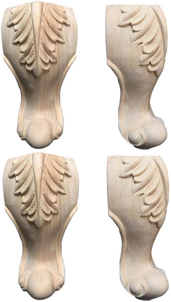 MWPO Sofa Legs Unfinished Wood, European Carved Furniture Legs Feet, Coffee Table Legs Replacement, Small Furniture Support Leg, Set of 4(5/6/7 / 8inch)