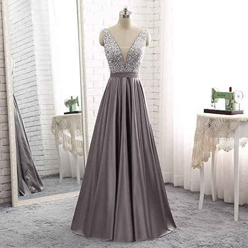 27feca7695b Amazon.com  Chic V Neck and Back Wedding Guest Bridesmaid Dresses Beaded  Sequin Prom Gowns Floor Length  Handmade