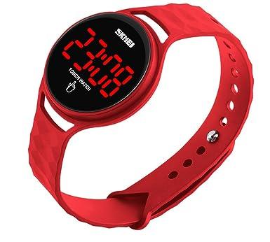 Hombres Mujeres deporte digital electrónico resistente al agua reloj con diseño Simple pantalla táctil LED Display calendario: Amazon.es: Relojes